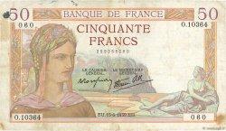 50 Francs CÉRÈS modifié FRANCE  1939 F.18.26 pr.TB