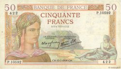 50 Francs CÉRÈS modifié FRANCE  1939 F.18.28 TB+