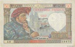 50 Francs JACQUES CŒUR FRANCE  1940 F.19.01 TB+