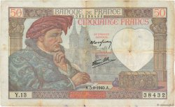 50 Francs JACQUES CŒUR FRANCE  1940 F.19.02 pr.TB