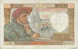 50 Francs JACQUES CŒUR FRANCE  1940 F.19.03 TB