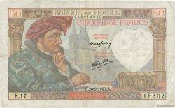 50 Francs JACQUES CŒUR FRANCE  1940 F.19.03 TB+