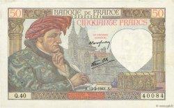 50 Francs JACQUES CŒUR FRANCE  1941 F.19.06 TTB+