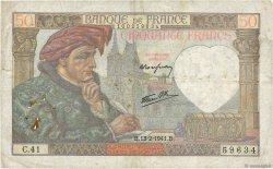 50 Francs JACQUES CŒUR FRANCE  1941 F.19.06 B+