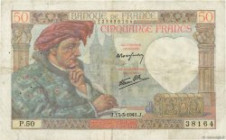 50 Francs JACQUES CŒUR FRANCE  1941 F.19.07 TB