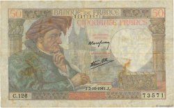 50 Francs JACQUES CŒUR FRANCE  1941 F.19.15 B+