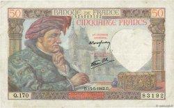 50 Francs JACQUES CŒUR FRANCE  1942 F.19.20 TB+