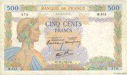 500 Francs LA PAIX FRANCE  1940 F.32.05 TB+