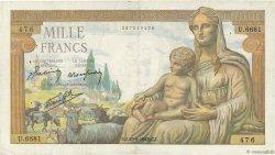 1000 Francs DÉESSE DÉMÉTER FRANCE  1943 F.40.28 TTB