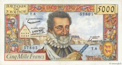 5000 Francs HENRI IV FRANCE  1957 F.49.01 SUP