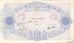 500 Francs BLEU ET ROSE modifié FRANCE  1939 F.31.35 TB