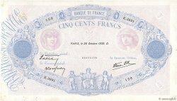 500 Francs BLEU ET ROSE modifié FRANCE  1939 F.31.45 TTB