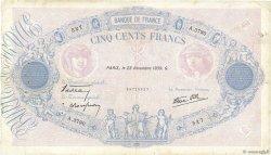 500 Francs BLEU ET ROSE modifié FRANCE  1939 F.31.49 TB