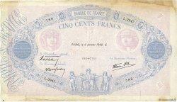 500 Francs BLEU ET ROSE modifié FRANCE  1940 F.31.55 TB