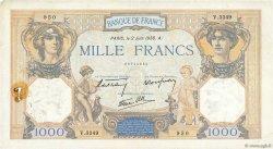 1000 Francs CÉRÈS ET MERCURE type modifié FRANCE  1938 F.38.17 TB+
