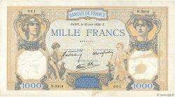 1000 Francs CÉRÈS ET MERCURE type modifié FRANCE  1938 F.38.19 TTB+
