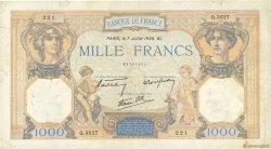1000 Francs CÉRÈS ET MERCURE type modifié FRANCE  1938 F.38.22 TB