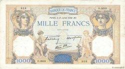 1000 Francs CÉRÈS ET MERCURE type modifié FRANCE  1938 F.38.24 TTB