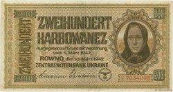 200 Karbowanez UKRAINE  1942 P.056 SUP