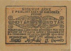 5 Qindtar ALBANIE  1920 PS.171 SUP+