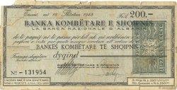200 Franga ALBANIE  1943 P.- TB