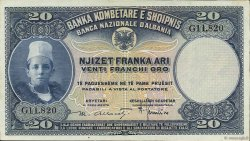 20 Franka Ari ALBANIE  1926 P.03a pr.SPL