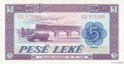 5 Lekë ALBANIE  1964 P.35a pr.NEUF