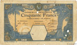 50 Francs GRAND-BASSAM AFRIQUE OCCIDENTALE FRANÇAISE (1895-1958) Grand-Bassam 1919 P.09D(a) B