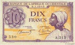 10 Francs AFRIQUE OCCIDENTALE FRANÇAISE (1895-1958)  1943 P.29 TTB+
