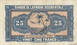 25 Francs AFRIQUE OCCIDENTALE FRANÇAISE (1895-1958)  1942 P.30a TTB
