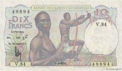 10 Francs AFRIQUE OCCIDENTALE FRANÇAISE (1895-1958)  1951 P.37 SUP+