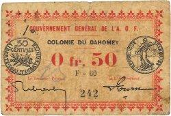 50 Centimes DAHOMEY  1917 P.01b B+