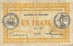 1 Franc DAHOMEY  1917 P.02a B+