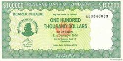 100000 Dollars ZIMBABWE  2006 P.32 SUP