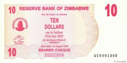 10 Dollars ZIMBABWE  2006 P.39 NEUF