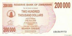 200000 Dollars ZIMBABWE  2007 P.49 NEUF