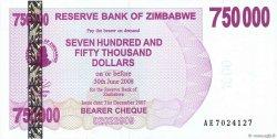 750000 Dollars ZIMBABWE  2007 P.52 NEUF
