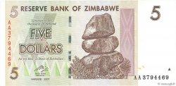 5 Dollars ZIMBABWE  2007 P.66 NEUF