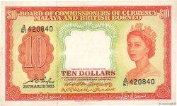 10 Dollars MALAISIE et BORNEO  1953 P.03a TTB
