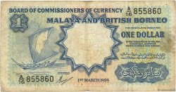 1 Dollar MALAISIE et BORNEO  1959 P.08a B