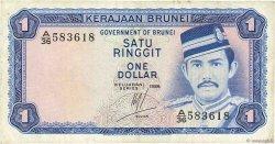 1 Ringgit - 1 Dollar BRUNEI  1986 P.06c TB+