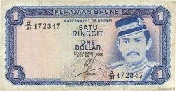 1 Ringgit - 1 Dollar BRUNEI  1985 P.06c TB