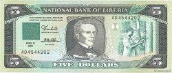5 Dollars LIBERIA  1989 P.19 NEUF