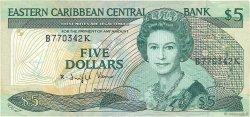 5 Dollars CARAÏBES  1988 P.22k2 TB+