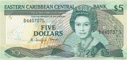 5 Dollars CARAÏBES  1988 P.22l2 TTB