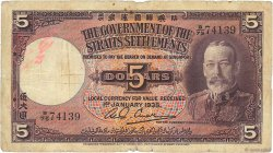 5 Dollars MALAISIE - ÉTABLISSEMENTS DES DÉTROITS  1935 P.17b pr.B