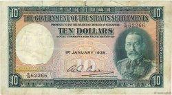 10 Dollars MALAISIE - ÉTABLISSEMENTS DES DÉTROITS  1935 P.18b B+