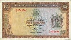 5 Dollars RHODÉSIE  1976 P.36a pr.TTB