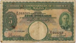 5 Dollars MALAYA  1941 P.12 B