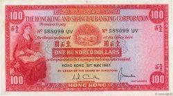 100 Dollars HONG KONG  1967 P.183b pr.TTB